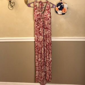 R&K Originals beaded floral halter maxi dress